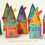 DIY Embellished fabric houses, cute!