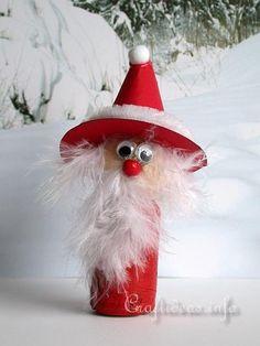 Christmas Crafts for Kids - Wine Cork Santa Claus. Christmas Ornament Crafts, Christmas Crafts For Kids, Holiday Crafts, Christmas Diy, Snowman Ornaments, Wine Craft, Wine Cork Crafts, Wine Bottle Crafts, Wine Bottles