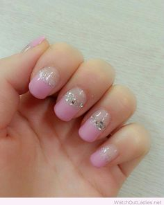 Deep french nail art on pink
