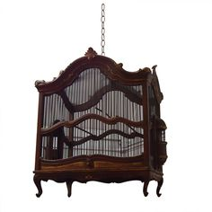 Birdcage  Italy  1950s  Beautiful carved and gilded walnut birdcage, mesh screen and sliding bottom drawer