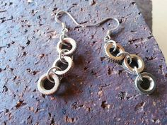 Dangle Earrings - Recycled Bike Parts - Upcycled Metal Jewelry on Etsy, $14.00