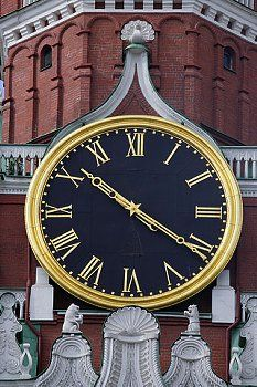 Clock on Spasskaya or Savior's Town in Moscow