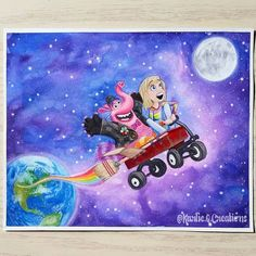 Inside out @karlie.q.creations Disney Animated Movies, Cute Disney, Disney Animation, Inside Out, Drawing Ideas, Pixar, Fanart, Snoopy, Paintings