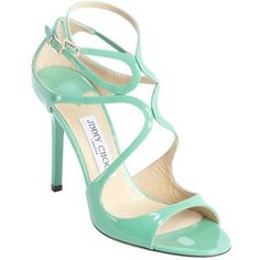 Jimmy Choo Teal green patent leather strappy detail 'Lang' sandals
