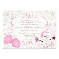 8 best winter birthday party invitations images on pinterest 1st custom winter one derland 1st birthday invitation filmwisefo