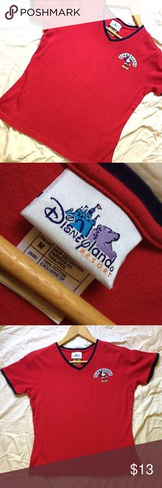 Vintage Disneyland Mickey Mouse Ringer Tee Shirt Straight from Disneyland Resort in California! 100% cotton Disneyland Resort Mickey Mouse Embroidered V neck Tshirt. Bust: 19in , Length: 21in. Perfect condition! Disney Tops Tees - Short Sleeve