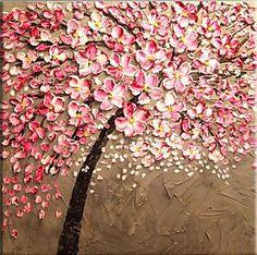 Pure Feitos À Mão Abstrata Da Flor Da Flor da Faca de Paleta Da Pintura A Óleo 100% Da Mão-pintado Arte Da Parede Rosa Árvore Flor Pendurar Lona fotos