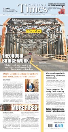 March 6, 2016 front page design newspaper Ozark County Times