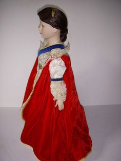 Franklin Dolls and Catalogues: Franklin mint Doll Collection Queens of England 1982 to 85 White Satin Dress, White Lace, Velvet Hat, Blue Velvet, Brocade Dresses, Satin Dresses, Catherine Of Aragon, Sleeveless Coat, Queen Of England