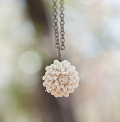 Cream Ivory Chrysanthemum Flower Necklace // Bridesmaid Gifts // Maid of Honor Gifts // Rustic Vintage Wedding Champagne. $16.00, via Etsy.