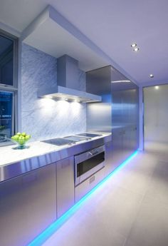 Decorations Breathtaking Modern Kitchen Lighting Decoration With Cool Teal Led Backlights Under Cabinets And White Led Backlights - pictures, photos, images