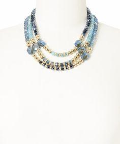 Look what I found on #zulily! Blue & Gold Three-Strand Necklace by SEEK NEW YORK #zulilyfinds  $18.99