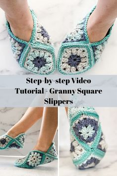 This step-by-step video tutorial will show you how to create this pretty popcorn stitch granny square, and how to assemble your squares into slippers! Crochet Shoes Pattern, Crochet Slippers, Crochet Patterns, Granny Square Slippers, Crochet Baby, Knit Crochet, Popcorn Stitch, Learn To Crochet, Crochet Accessories