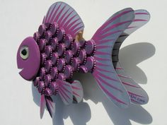 Goldfish Art Metal BottleCap Purple Fish Wall Art - GRAPE SODA Nugrape…