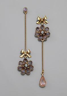 Betsey Johnson Teardrop Mismatch Flower Earrings