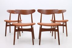 Set of 4 CH 30 side chairs in teak and new leather. Designed by Hans Jørgen Wegner in 1954 and manufactured by Carl Hansen and son, Odense, Denmark. www.reModern.dk