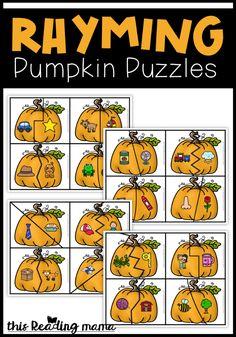 Rhyming Pumpkin Puzzles - free - This Reading Mama Rhyming Kindergarten, Fall Preschool Activities, Rhyming Activities, Kindergarten Centers, Kindergarten Literacy, Halloween Activities, Preschool Learning, Teaching, Kindergarten Thanksgiving
