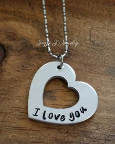 Simple Heart I Love You Necklace, Hand Stamped Heart Necklace, Personalized Necklace, Gift For Her, I Love You Gift, Just Because Gift by JazzieJsJewelry on Etsy