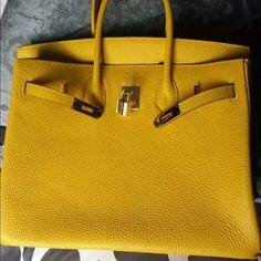 Hermes Authentic Hermes Birkin Real Togo Leather Yellow bag Gold Hardware 35cm Hermes Bags Satchels