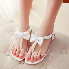 Sweet Bowknot and Faux Pearls Design Sandals For Women