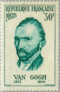 France : : stamp, issued on 10 November 1956 : : features artist, Vincent van Gogh — from a self portrait Vincent Van Gogh, Van Gogh Art, Art Van, Old Stamps, Vintage Stamps, Van Gogh Self Portrait, Postage Stamp Design, Stamp Printing, Stamp Collecting