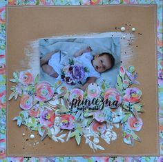 scrapbooking layout, mixed media, rose, craft paper Mixed Media, Scrapbooking, Paper Crafts, Layout, Rose, Baby, Pink, Tissue Paper Crafts, Page Layout
