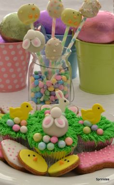 Easter treat table, cupcakes, cookies and cake pops