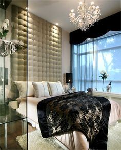 #luxe, #bedroom Glamourous, bedroom, cream, black, chandelier, home, decor, inspiration