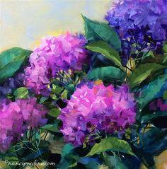 "Daily Paintworks - ""Meet the Artist Tonight - White Hydrangea Color Burst - Flower Paintings by Nancy Medina"" - Original Fine Art for Sale - © Nancy Medina"