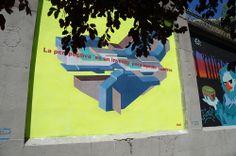 """Sue. Proyecto """"Muros"""".#ArteTabacalera Promoción del Arte #ArteUrbano #StreetArt Madrid Día de la Inauguración. #Arterecord 2014"""