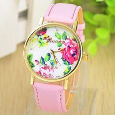 Fashion Leather GENEVA Rose gold Flower Watch Women Dress Watch Quartz Watches