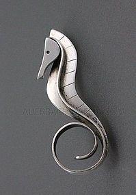 Paul Lobel Modernist Sterling Seahorse brooch