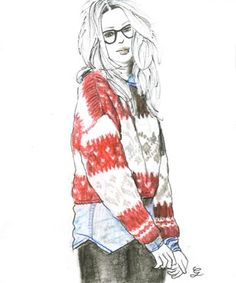 knit & blouse Illustration