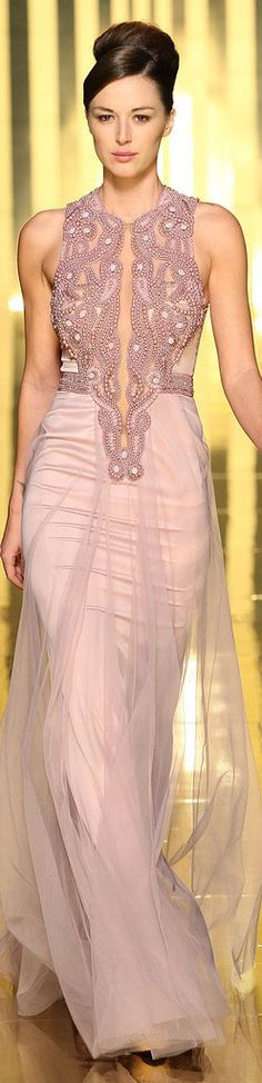 Mireille Dagher 2013 haute couture pink evening gown