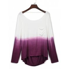 Choies Purple Dip Dye Pocket Detail Backless Long Sleeve T-shirt ($14) ❤ liked on Polyvore featuring tops, t-shirts, purple, pocket t shirts, white top, long sleeve pocket tee, backless t shirt and white long sleeve tee