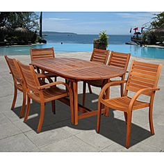 @Overstock - Update your outdoor living space with this opulent Riviera 7-piece oval dining set. The dining set has comfortable, stackable chairs and is weather resistant and UV protected.http://www.overstock.com/Home-Garden/Riviera-7-piece-Oval-Dining-Set/6678162/product.html?CID=214117 $1,499.99