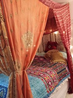 Bed Canopy- Moroccan Dream MADE TO ORDER....2 weeks creation time Canopy will be similar as pictured One of a Kind Beauty for your Bedroom, Wedding, Garden Party , Patio, Hippie Meditation Room This is a wonderful canopy sewn with vintage silk saris..The sari panels have twine at each