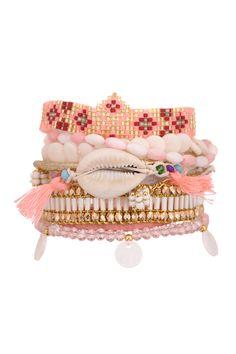 Manchette multi bracelets brésiliens Borabora Rose #Hipanema sur @MonShowroom.com