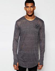 Mega cool Siksilk Longline Burnout Long Sleeve Fitted T-Shirt With Stripes - Black SikSilk Striped til Herrer i behagelige materialer