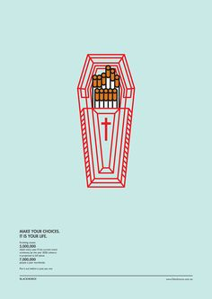 In May of 2013, a collection of infographics were published by graphic design student Heng Chun Liow. This design is a piece from his series of conceptual posters demonstrating to the public the negative health effects of impulsive cigarette smoking. This is a cause and effect infographic, as it signifies a causal relationship between smoking and ones health while conveying a compelling story and idea through simplicity and creativity.