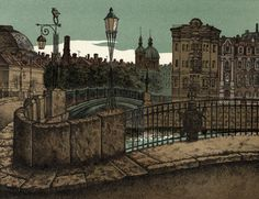 "Michael Iofin — ""Fontanka. Pestel Bridge"" (1986-88, Color Stone Lithography, 10""x7.5"") / The Bridges of St. Petersburg or White Nights Series"
