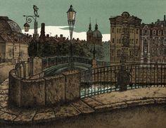 "Michael Iofin — ""Fontanka. Pestel Bridge"" (1986-88, Color Stone Lithography, 10""x7.5"") / The Bridges of St. Petersburg or White Nights Series"