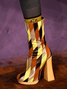 T's Daily Shoe: Prada's Platform Patchwork Boots. MFW Spring 2015. (Photo: Firstview)