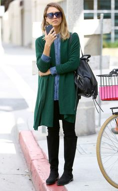 Love the way Jessica Alba color blocks on a rare rainy day in So Cal!