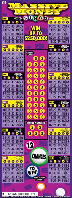 """Massive Money Bingo: More Than $12 Million in Prizes. Approximately 1.8 million """"Massive Money Bingo"""" tickets are initially planned in this game. Click on the image to learn more about this game, which debuted on August 25, 2014. Money Bingo, Bingo Tickets, Lotto Games, Scratch Off Tickets, Off Game, August 25, How To Plan, Awesome, Image"""