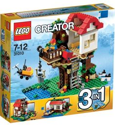 The Lego Tree House Creator is a cool set because you can build three different houses out of the one set. The Lego Creator Treehouse has 356 pices and 1 minifig. Toys R Us, Toys For Boys, Lego Sets For Boys, Lego Girls, Lego Creator Sets, The Creator, Lego Tree House, Lego Building Sets, Model Building