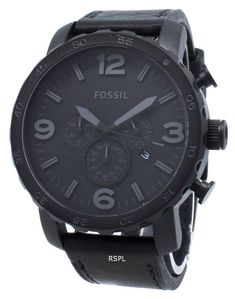 Features:  Black Stainless Steel Case Leather Strap Quartz Movement Mineral Crystal Black Dial Analog Display Chronograph Function Date Display Pull/Push Crown Solid Case Back Buckle Clasp 50M Water Resistant  Approximate Case Diameter: 50mm Approximate Case Thickness: 13mm Online Watch Store, Black Stainless Steel, Chronograph, Mineral, Fossil, Watches For Men, Quartz, Crown, Display