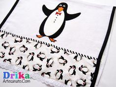 Panos de prato com lindos pinguins em falso patch aplique