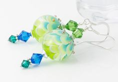 Green Lampwork Earrings by Ciel Creations