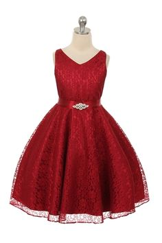 Burgundy Satin and Lace Flower Girl Dress